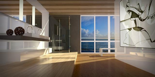 návrh interiéru s velkými okny